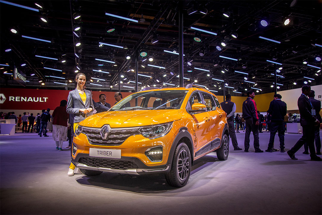 The Renault Triber showcased at 2020 Auto Expo