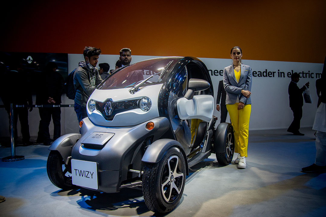 The Renault Twizy EV at the 2020 Indian Auto Expo
